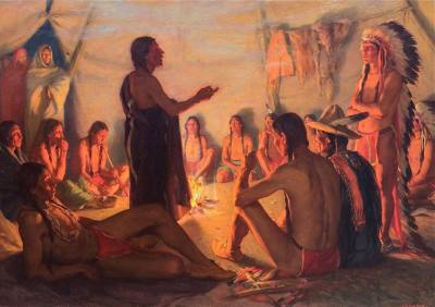 "alt=""Joseph Henry Sharp The Council of Indians"""